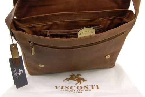 """Gibecière pour ordinateur portable 15"""" A4 en cuir signé Visconti (18516) Tanne"""