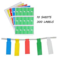 Xstar Cable Labels 10 Sheets 300Pcs Self-Adhesive Cable Tag, Waterproof Tear Resistant Marker Wire Label Stickers for Laser Printer