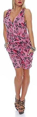Kurzer Jumpsuit im Sommerlichen Flower Print Look Hosenanzug Overall Einteiler Playsuit Body Zipper Schulterfrei Sleeveless Rückenfrei Oversize Strampler V-Ausschnitt Loose Bandeau 2758-2 Damen (S/M, pink)
