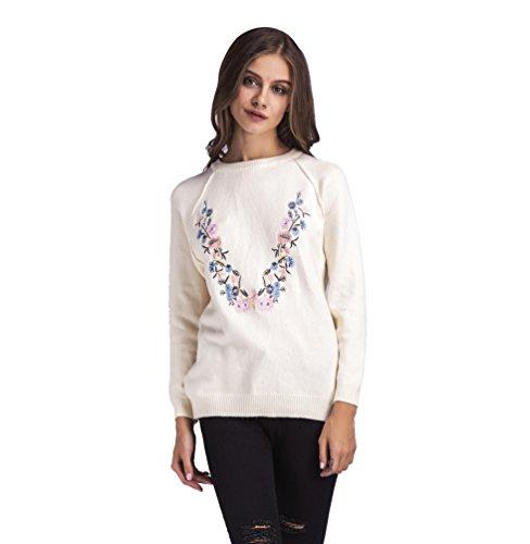 WanYang Femmes Pull Casual Manches Longues Pullover Irrégulier Sweater Col Rond Hauts en Tricot Blouse Top Chaud Pour Automne Hiver Blanc