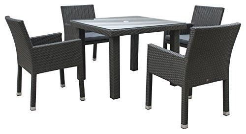 Maze Rattan mon-t-10105+ mon-c-15quadratisch 4Sitz Monaco Tief Esszimmer Set mit 100x 100cm Tisch in ein Gewebe-MIXED grau -