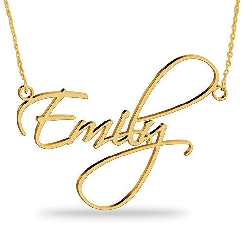 skette aus 750er vergoldetem 925er Silber Personalisierte Namen Halskette mit Ihrem eigenen Wunschnamen(18K Vergoldet, 45) ()