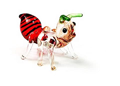 Ensemble de 3 miniatures à collectionner main soufflé verre Ant Figurine