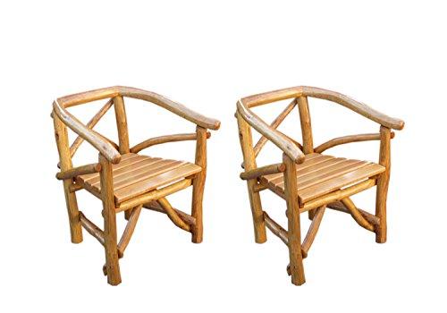 2 Gartensessel aus Knüppelholz in Eiche und Buche massiv mit Holzlasur in Eiche hell, Maße: B/H/T...