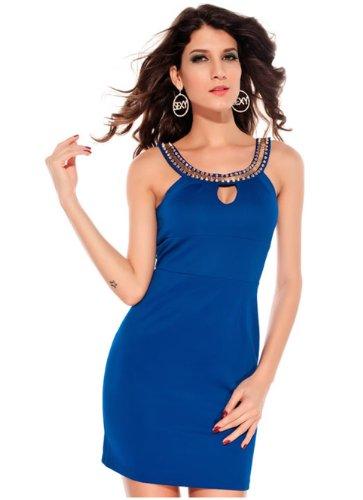 E-Girl frais ethnique Col rond Halter Cocktail Soirée Robe, Bleu Bleu