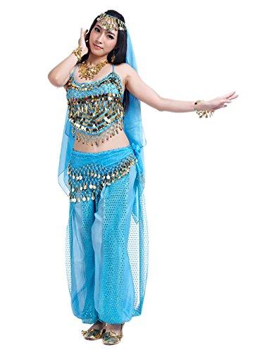 n Erwachsene Faschings-Kostüm Indische Bauchtänzerin Kostüme Eisblau (Jasmin Kostüm)