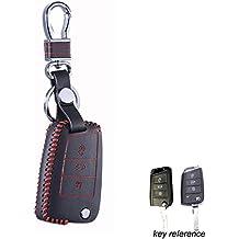 Maxiou Key Fob Protect Funda para VW Polo 2016 golf 7 MK7 Skoda Octavia combi A7 SEAT Leon Ibiza CUPTRA Funda Skin Bag (rojo)