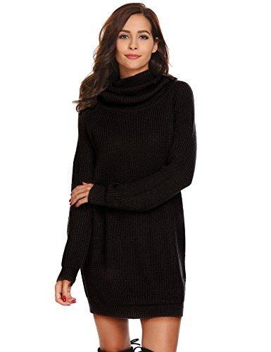 Keland Damen Elegant Strickkleid mit Rollkragen Langarm Beiläufige Lose Casual Winter Pullover Kleid, Größe S, Farbe Schwarz