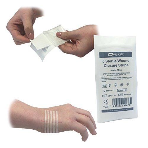 Qualicare Wundverschluss-Pflaster (10er-Packungen) 3mm x 75mm, selbstklebend, hypoallergen, steriler Wundnahtverschluss, 50 Stück - Sterile Wundverschluss