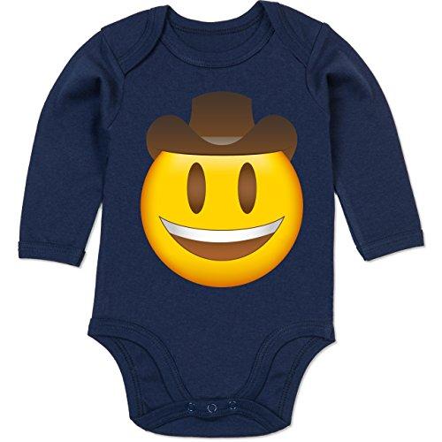 Kostüm Spieler Cowboy - Shirtracer Anlässe Baby - Emoji Cowboy-Hut - 12-18 Monate - Navy Blau - BZ30 - Baby Body Langarm