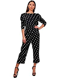 7c1f0cf58c YourPrimeOutlet Womens Black Harriet Polka Dot Ruched Sleeve Culotte  Jumpsuit