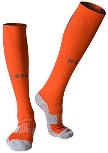 huathy Donna Uomo Calcio Professionale Calze a compressione graduata supporto polpaccio calze (Scarpa Imbottito: 6-10, Bianco), Orange