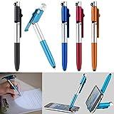 PEARL Kugelschreiber mit Licht: 4in1-Kugelschreiber mit LED-Lampe, Touchpen und Handy-Ständer, 5er-Set (Multifunktions Kugelschreiber)