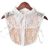GROOMY Mujeres Color Puro Falda de algodón de Encaje Falso Collares Desmontable Solapa Choker Collar Camisa Falso Falso Collar Ajustar Accesorios de Ropa