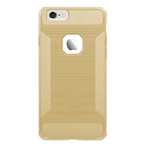 Wkae Brushed Carbon Fiber Texture Shockproof TPU Schutzhülle für iPhone 6 Plus & 6s Plus ( Color : Grey ) Gold