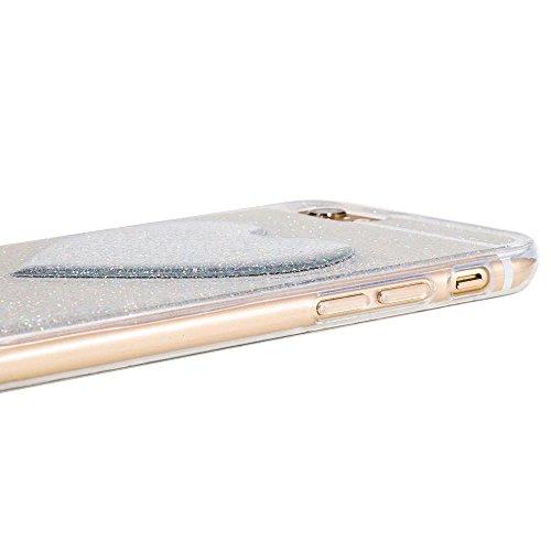 """iPhone 7Plus Handyhülle, iPhone 7Plus Liquid TPU Case, CLTPY Kreativ 3D Fließen Flüssig Bling Schwimmend Treibsand Herz, Glanz Shiny Kristallklar Schale Etui für 5.5"""" Apple iPhone 7Plus (Nicht iPhone  Silber Herz 4"""