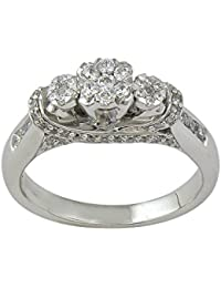 Lolls 1.18 TCW Round Cut Cubic Zirconia Three Stone Engagement Ring In 925 Sterling Silver [Lolls_AMR2064A_Y]