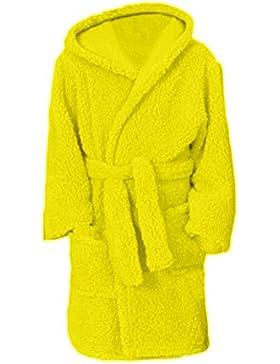 BRANDSSELLER Kinder Bademantel Morgenmantel Sherpa Uni mit Kapuze - für Jungen und Mädchen - verschiedenen farben