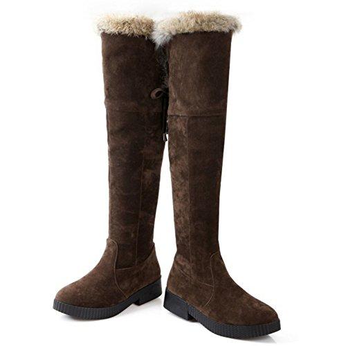 COOLCEPT Damen Winter Warme Flache Chelsea Stiefel Mode Lange Schneestiefel Braun