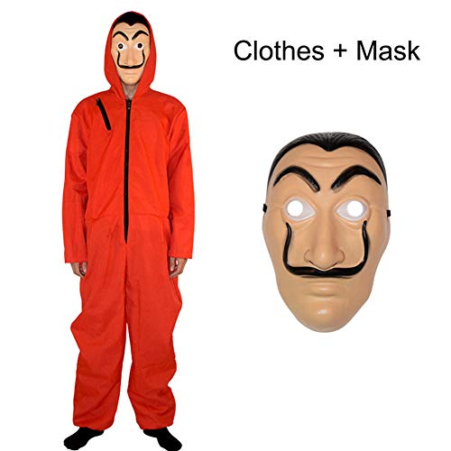 Yigoo Haus des Geldes Kostüm Overall mit Dali Maske Cosplay für Herren, Damen Erwachsene - Fasching, Karneval, Halloween Rot L