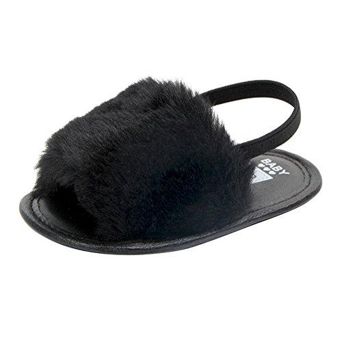 ESHOO Baby Girls Soft Sole Shoes Plush Slide Sandal First Walkers Anti-slip Walking Shoes