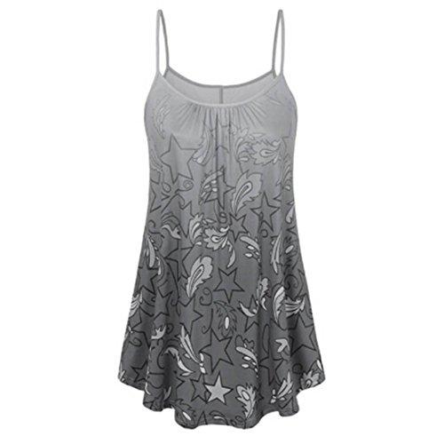 ESAILQ Damen Mode Crop Tank Tops Ärmelloses T-Shirt Gestreiftes Camisole(M,Grau) -