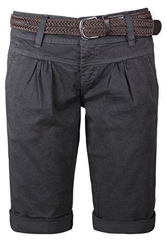 fresh-made-damen-bermuda-shorts-im-chino-style-elegante-kurze-hose-mit-flechtgurtel-dark-grey-s