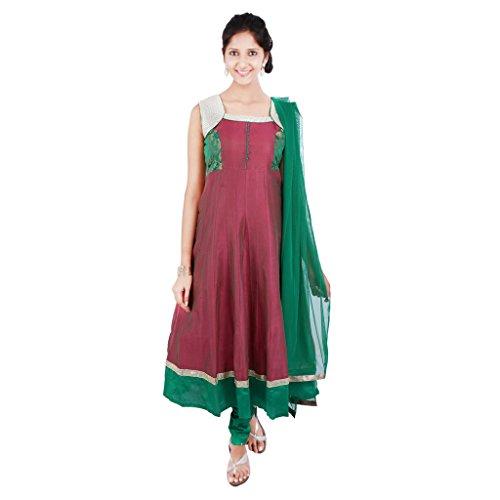 Indian Traditional Wedding Sequence Work & Broket Border Work Silk Churidar Anarkali Suit with Net Dupatta For Women