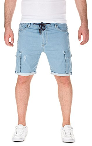 Yazubi Herren Sweat Shorts Hero - Bermuda aus Sweat in Jeans-Optik, light blue (1514), W32