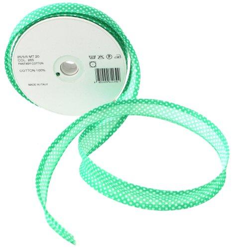 Inastri - Cinta bies de algodón, 25/5/ 5 mm, color verde con lunares blancos 265