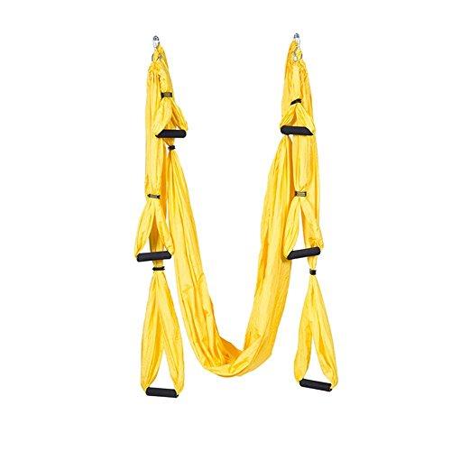 (adream Yoga Sling Griff Fallschirm Stoff Anti Gravity Fitness Übungen Training Yoga Übungen auf Gelb)