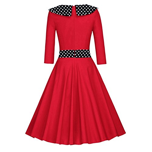Là Vestmon Damen Retro Cocktailkleid 50er Schwingen Vintage Rockabilly Kleid Faltenrock Abendkleider Polka Dot Langarm Rot