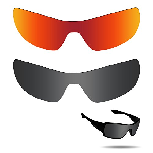Fiskr Anti-Saltwater Polarisierte Ersatz Gläser für Oakley Ableger Sonnenbrille 2Paar Verpackt, Stealth Black & Fire Red