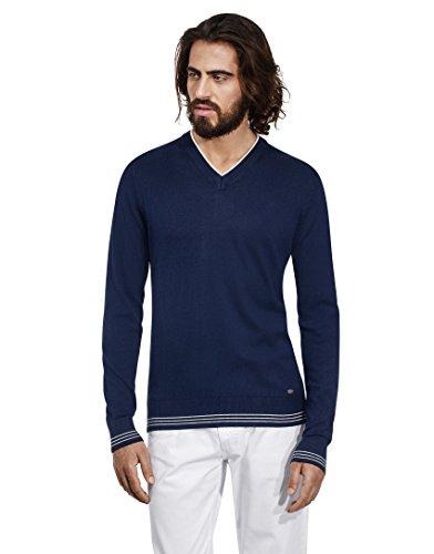 VB-Maglione da uomo con scollo a V, Strisce a contrasto, slim Dark Blue Large