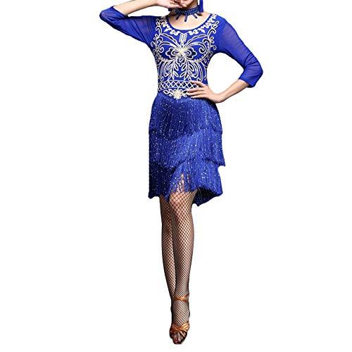 Swing Tanz Wettbewerbs Kostüm - Tanzkleid Frauen Dancewear Pailletten Fransen Quasten Rhythm Salsa Ballsaal Samba Tango Latin Dance Dress Wettbewerb Kostüme Swing Rumba Dress Tanzkostüm für Damen ( Farbe : Royal Blue , Größe : M )