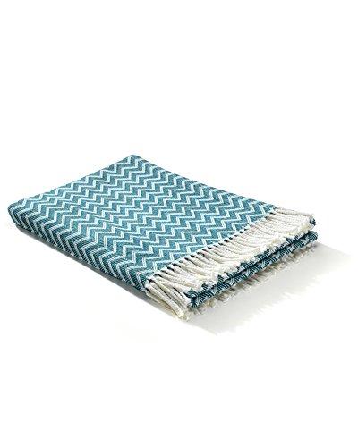 myHomery Decke aus Baumwolle - Tagesdecke leicht & kuschelig - Made IN EU - Wolldecke mit Zick-Zack Muster - Wohndecke Fransen - Kuscheldecke modern und hochwertig - Weiß/Petrol | 130 x 170 cm
