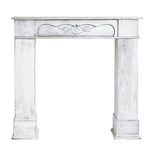 Mobili rebecca® camino decorazione caminetto legno bianco stile retro soggiorno idee casa (cod. re4865)