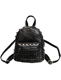 ef091e488f4d6 LUOEM Nieten Rucksack Leder mini Schultasche Handtaschen Daypack für Damen  Mädchen (Schwarz)