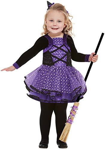 Halloweenia - Mädchen Kinder Pretty Star Hexen Witch Toodler Kostüm, Kleid und Haarband, perfekt für Halloween Karneval und Fasching, 92-98, - Pretty Witch Kostüm
