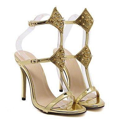 LvYuan Da donna-Sandali-Matrimonio Serata e festa-Comoda Innovativo-A stiletto-PU (Poliuretano)-Nero Argento Dorato Silver
