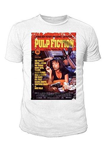 Quentin Tarantino XX - Pulp Fiction Herren T-Shirt - Mia Film Poster (Weiss) (S-XL) (L)