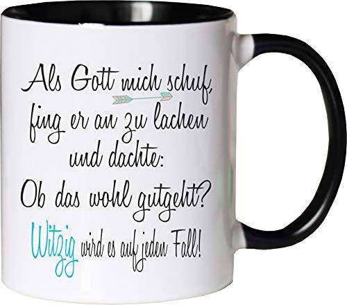 Mister Merchandise Becher Tasse Als Gott Mich Schuf... Kaffee Kaffeetasse liebevoll Bedruckt Lustig Spaßig Büro Arbeit Weiß-Schwarz