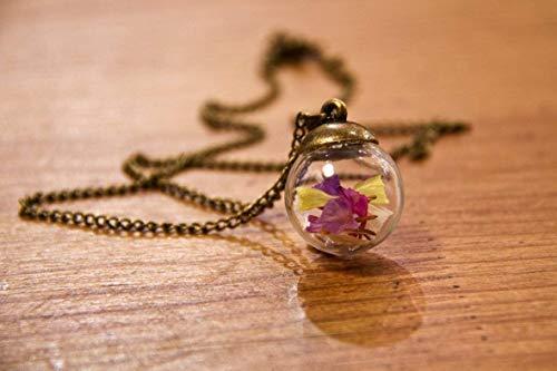 Collana donna in bicchiere - Fiori di Lavanda di mare - Piccolo globo 20mm - Idea regalo...