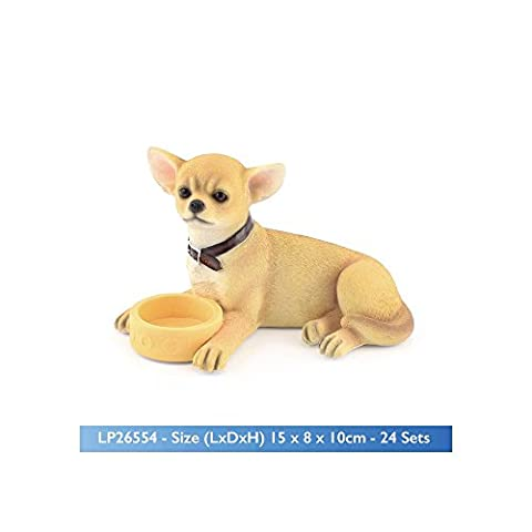 Tea Time Chihuahua Lying Down With Bowl Dog Ornament