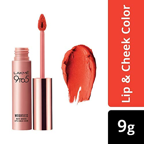 Lakme 9 a 5 Sin peso Mousse Lip & Cheek Color, mandarina Pelusa, 9 g