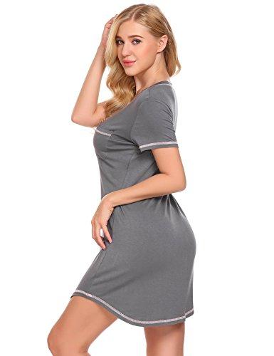 Ekouaer Damen Nachthemd Kurzarm Sleepshirt Nachtwäsche kurz Nachtkleid aus Baumwolle Grau