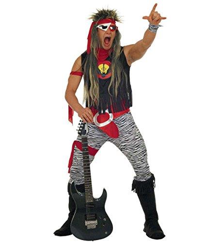 Rock Star Kostüm Jahre 80er (Widmann 37863 - Erwachsenenkostüm Rock Star, T- Shirt, Hose, Gürtel, Handgelenkbänder und Üœberstiefel, Größe)