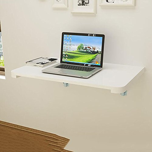 DEO Bureau d'ordinateur Double support avec table murale de table murale pliez la table contre le mur durable (Couleur : Blanc, taille : 80 * 40CM)