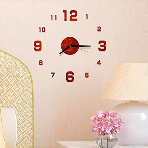 Dafang orologio da parete 3d design grande specchio acrilico orologio adesivo accessori per soggiorno orologio da parete decorativo rosso-