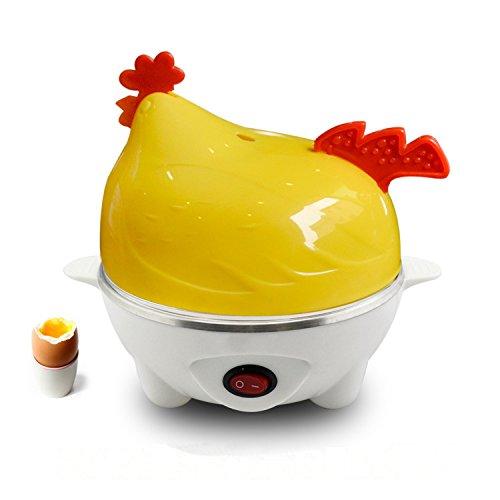 Ourmall Henne-Art elektrischer Ei-Boiler-Kocher für bis 7 Eier, Wilderer und Dampfer-Schüssel mit CER, ROHS, FCC Bescheinigung (Gelb)